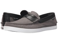 Cole Haan Pinch Weekender Storm Cloud Canvas Black Leather Men's Slip On Shoes Taupe