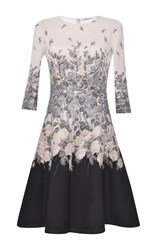 Blumarine Silk Cotton Embroidered A Line Dress Multi
