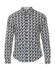 Gieves And Hawkes Zigzag Chevron Print Cotton Shirt Navy Multi