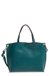 Street Level Junior Women's Reversible Faux Leather Tote Green Green Black