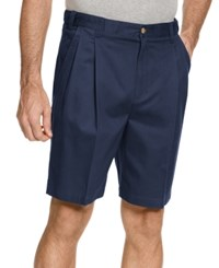Geoffrey Beene Big And Tall Shorts Extender Waist Double Pleat Shorts Navy