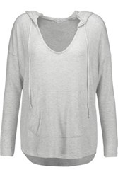 Splendid Hooded Marled Stretch Jersey Top Light Gray