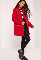 Missguided Collarless Biker Coat Red Red