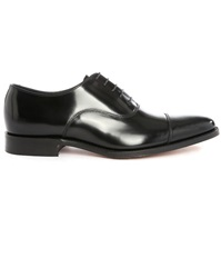 Loake Smith Black Leather Toe Cap Derbies