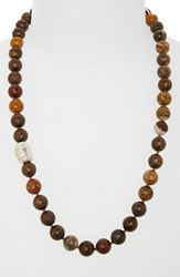 Women's Simon Sebbag Beaded Necklace Faceted Petrified Wood