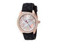 Betsey Johnson Bj00048 172 Black Silicone Strap Rose Gold Watches