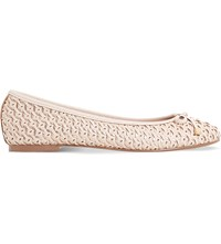 Dune Hobbi Woven Leather Ballet Flats Nude Leather