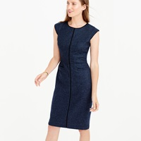 J.Crew Petite Cap Sleeve Dress In Piped Donegal Wool