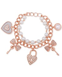 Guess Rose Gold Tune Imitation Pearl And Pave Charm Bracelet