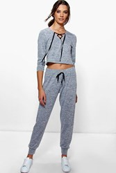 Boohoo Tie Front Sweat And Jogger Lounge Set Grey Marl