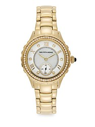 Saks Fifth Avenue Crystal And Goldtone Stainless Steel Sub Dial Watch Yellow Gold