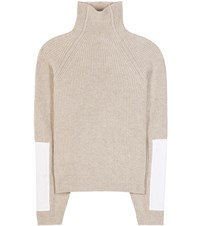 Victoria Beckham Military Patch Sleeve Wool Turtleneck Sweater Beige