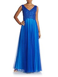 Monique Lhuillier Embroidered Tulle A Line Gown Cobalt Ice