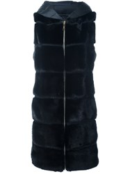 Liska Mink Fur Panelled Puffer Coat Black