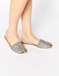 Park Lane Weave Leather Sling Flat Sandals Grey