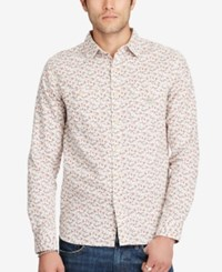 Denim And Supply Ralph Lauren Men's Printed Slub Workshirt White