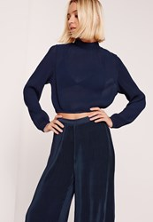 Missguided Pleated Turtle Neck Long Sleeve Crop Blouse Navy Blue