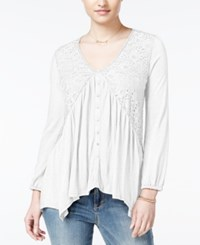 American Rag Lace Handkerchief Hem Peasant Top Only At Macy's White