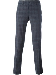 Incotex Checked Skinny Trousers Grey