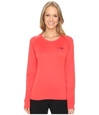 The North Face Long Sleeve Lfc Reaxion Amp Tee Melon Red Biking Red Women's Long Sleeve Pullover