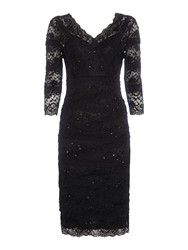 Shubette Beaded Scallop Lace Dress Black