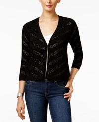 Charter Club Cashmere Chevron Sequined Cardigan Only At Macy's Classic Black