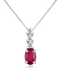 Incanto Royale Diamond And Ruby Drop 18K Gold Pendant Necklace Red
