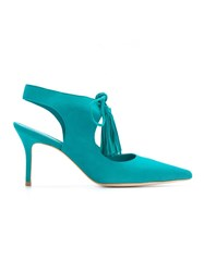 Sarah Chofakian Pointed Toe Pumps Blue