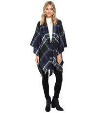 Echo Reversible Plaid Cape Navy Women's Clothing