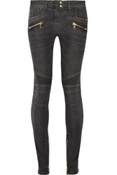 Balmain Moto Style Distressed Low Rise Skinny Jeans Dark Gray