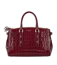 Aspinal Of London Croc Print Brook Street Bag Unisex Burgundy