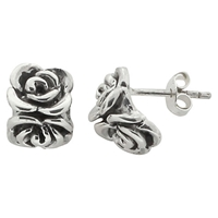 Nina B Sterling Silver Double Rose Stud Earrings Silver