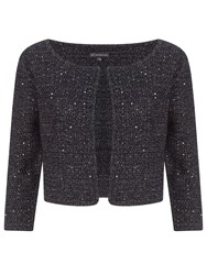 Adrianna Papell Cap Sleeve Knitted Sequin Top Charcoal