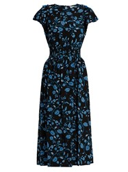 Rebecca Taylor Open Shoulder Silk Chiffon Dress Black Blue