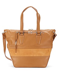 Kelsi Dagger Tavi Leather And Suede Convertible Tote Bag Tobacco