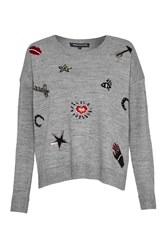 French Connection Lucky Knits Crew Neck Jumper Grey