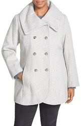 Plus Size Women's Jessica Simpson Double Breasted Basket Weave Coat Grey