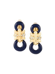 Givenchy Vintage Enamel Clip On Earrings Blue