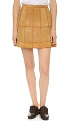 Free People Piece Out Suede Skirt Mustard