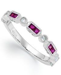 Macy's 14K White Gold Ruby 1 2 Ct. T.W. And Diamond 1 5 Ct. T.W. Alternating Ring