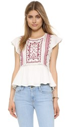 Twelfth St. By Cynthia Vincent Embroidered Flutter Top Cream