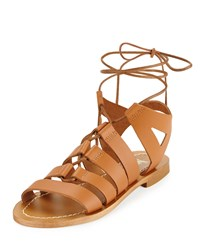 Neiman Marcus Made In Italy Amorie Leather Lace Up Sandal Cognac Red