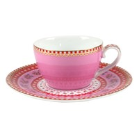 Pip Studio Ribbon Rose Espresso Cup And Saucer Pink