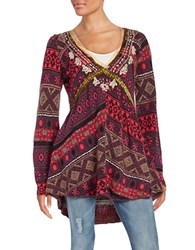 Free People Bell Sleeve V Neck Knit Tunic Red