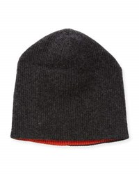 Portolano Reversible Ribbed Knit Beanie Hat Charcoal Orange