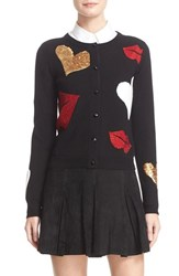 Alice Olivia Women's Maude Embellished Lips And Hearts Cardigan