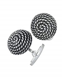 Jan Leslie Spiral Rope Antique Dome Cuff Links Silver