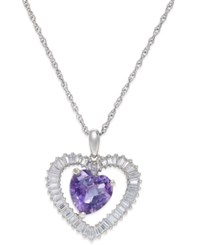 Macy's Amethyst 1 1 2 Ct. T.W. And White Topaz 3 4 Ct. T.W. Heart Pendant Necklace In Sterling Silver