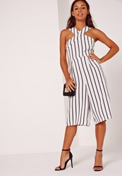Missguided Petite Exclusive Stripe Cross Front Culotte Jumpsuit White White
