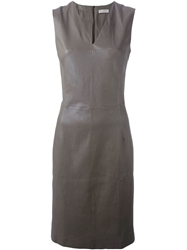 Maison Ullens Fitted Lambskin Dress Brown